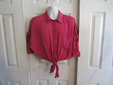 Torrid Pink Retro Pinup  Button Up Tie Front Crop Top Plus Size Different Sizes