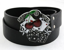 Lady Luck 13 Dice Cherrie's Poker Card Stars Pewter Buckle Genuine Leather Belt