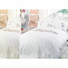 Shabby Chic Duvet Cover - Luxury Embroidered Applique Bedding Bed Set