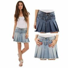 Hidden Fashion Womens Mid Rise Double Waist Banded Pleated Denim Short Skirts