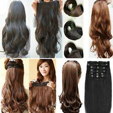 Human Stylish Full head set long Curly Wavy synthetic hair extension 16 clip in