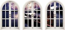 Huge 3D Arched Window Enchanted River Sky View Wall Stickers Film Mural Decal