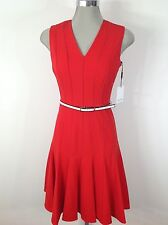 Calvin Klein New WT Elegant Sexy Red Dress Flare Bottom w White Belt a Must Have