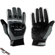 Protectors short Motorcycle Biker Leather Gloves Sport Road Professional Silver