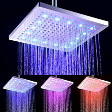 """Luxury 12""""inch Square Rainfall Shower Head Led Color Changing Bathroom Mixer Tap"""