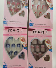 French Acrylic False Nail 24pcs PreDesign Full Tips/Glue TCA-Q-J-FREE 3D STICKER