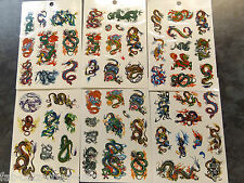 6x SHEETS MENS BOYS ARTY BLACK CELTIC TRIBAL CHINESE DRAGON TEMPORARY TATTOOS UK