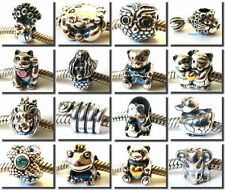 925 Sterling Silver Animal Cartoon Threaded Fit European Bead Charm Bracelet