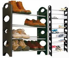 BLACK 4/10 TIER SHOE RACK ORGANISER FOR 12/30 PAIR SHOES STORAGE SHELF RACK HOLD