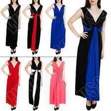 New Womens Pleated Tunic Knot Long Maxi Dress Party Plus Size 16 18 20 22 24 26