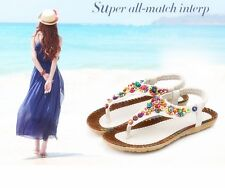 Womens Ladies Summer Sandals Strappy Flat Low Beach Shoes Flip-Flops Size Top -Y