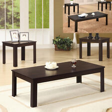 SIMPLE 3 PC Classic Casual Dark Walnut Black Coffee End Occasional Table Set