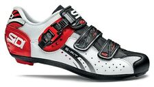 Sidi Genius 5 Fit Carbon White Black Red 3-Bolt Road Cycling Shoes