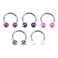 FAUX PEARL BALL CURVED CIRCULAR BARBELL HORSESHOE LIP NOSE RING SEPTUM