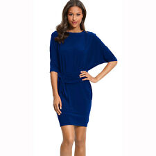 Batwing Sleeves Crewneck Jersey Party Day Night Cocktail Evening Dress Blue