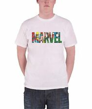 Marvel Comics Superhero Collage Logo Official Mens New White T Shirt All Sizes