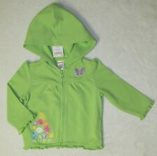 NWT GYMBOREE BUTTERFLY BLOSSOMS Green Knit Embroidered Hooded Yoga Jacket zip-up