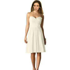 Strapless Short Chiffon Bridesmaid Formal Cocktail Evening Party Dress Ivory
