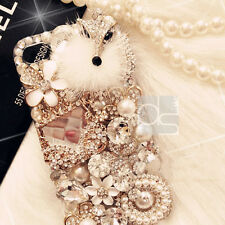 Fluffy Forks Gold Bling Rhinestone Crystal Hard Skin Case Cover For HTC / iPhone