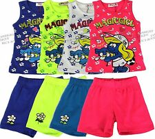 Girls Top & Shorts Set Full Smurfette Outfit Kids Summer Clothes Ages 2-12 years