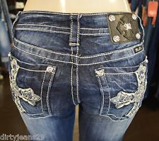 Miss Me Jeans Women's Relaxed Fit Boot Cut Medium Wash Glamourous Cross XP7049B