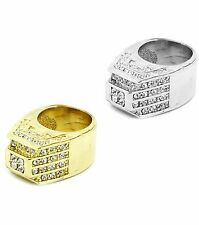 Mens Gold Silv Plated Hip Hop Iced Out Big Ring Cubic Zirconia Size 7 8 9 10 11