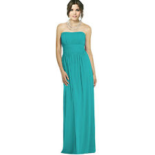 Strapless Chiffon Formal Cocktail Evening Ball Gown Bridesmaid Dress Aqua