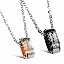 Mens Womens Stainless Steel LOVE Carved Couples Pendant Necklaces  Promise Gifts