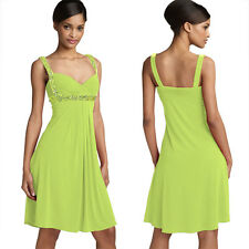 Sexy Beaded Knee Length Formal Cocktail Party Club Prom Dress Leaf Green