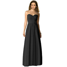 Strapless Full Length Chiffon Bridesmaids Dress Formal Evening Gown Black