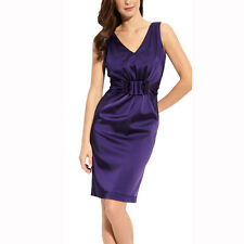 Gathered V-Neck Stretch Satin Formal Cocktail Evening Party Day Dress Purple