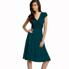 Ruched Cap Sleeves Chiffon Cocktail Evening Dress Prom Party Wear Teal