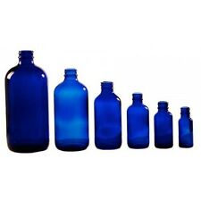 Quantity 12 Cobalt Blue Glass Boston Round Bottles and Tops and FREE Shipping !!