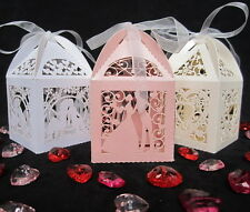 NEW Luxury Wedding Favour Boxes Sweets Gift Table Decorations 3 Pearlied Colours