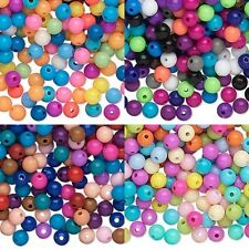 Lot of 100 Assorted Opaque Colored Plastic Acrylic 6mm Round Mixed Color Beads