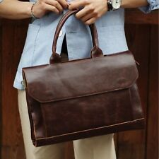 "Vintage Men's Leather Shoulder Messenger Bags 13"" Laptop Bag Briefcase Handbag"