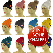 2 in 1 Bone Hijab Cap Khaleeji Scrunchie Maxi Volumizer Islamic UnderScarf
