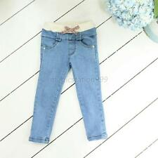 Baby Girls Kid Costumes Causal Trousers Elastic Solid Blue Jeans Pants