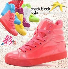 Women and Men Couple models candy colored patent leather high-top sports shoes