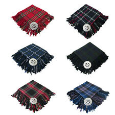 Scottish Highland Piper Kilt Fly Plaid & Brooch - Choice 8 Tartans