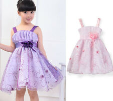 2014 Baby Girls Kids Princess Party Floral Dress Wedding Formal Full Dress Skirt