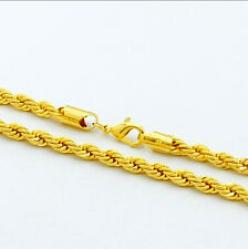 24K Yellow Gold Plated Twisted Rope Chain Men Cool Necklace Lifetime 20-30inch