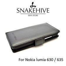 Nokia Lumia 630 / 635 Genuine Snakehive Real Leather Wallet Flip Case Cover & SP