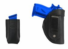New Barsony Black Leather IWB Holster + Mag Pouch Colt 380 Ultra Compact 9mm 40
