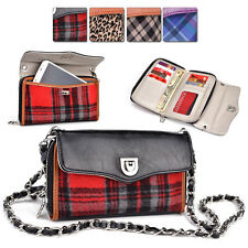 R Kroo Smart-Phone Tartan PU-Leather Protective Crossbody Clutch Purse Organizer