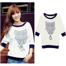Fashion Women's T-shirt Owl Print Color Block Batwing Sleeves Tops White S-XL