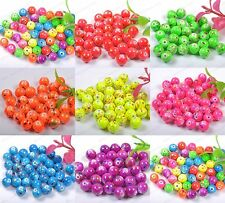 Wholesale Acrylic Round Charms Loose Spacer Beads Jewelry Findings 8MM 10MM 12MM