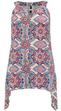 NEW EVANS PINK BLUE CREAM PAISLEY SLEEVELESS JERSEY TOP TUNIC 14 - 32