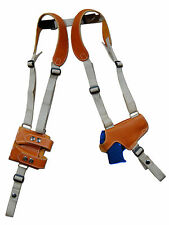Tan Leather Thumb Break Shoulder Holster w/Mag Pouch SIG Walther 380 9mm 40 45
