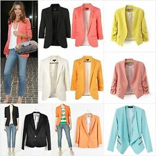 2014 New Women Fashion Solid Candy Colors Slim Fit Suit Jacket Blazer Coat Tops